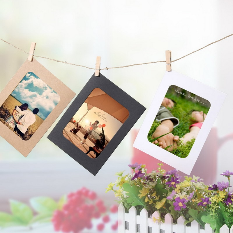 DIY Kraft Paper Photo Frame With Clips And Rope 10 Pcs
